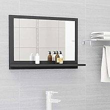 FAMIROSA Specchio da Bagno Grigio 60x10,5x37 cm in