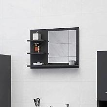 FAMIROSA Specchio da Bagno Grigio 60x10,5x45 cm in