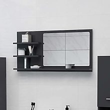 FAMIROSA Specchio da Bagno Grigio 90x10,5x45 cm in