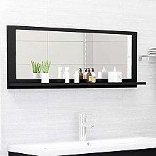 FAMIROSA Specchio da Bagno Nero 100x10,5x37 cm in
