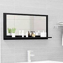 FAMIROSA Specchio da Bagno Nero 80x10,5x37 cm in