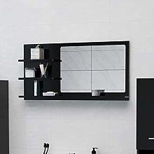 FAMIROSA Specchio da Bagno Nero 90x10,5x45 cm in