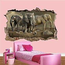 Fantasia Elefanti Giganti Adesivi Da Parete 3D Art