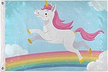 FANTAZIO - Bandiera da giardino con unicorno in