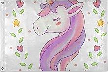 FANTAZIO Bandiera da giardino Happy Unicorn