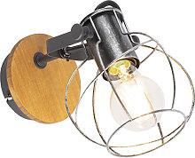 Faretto / Applique industriale acciaio legno -