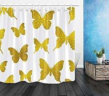 Farfalla dorata su sfondo bianco stampa HD, tenda