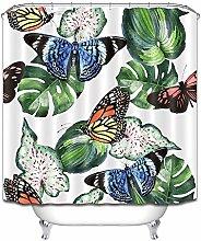 Farfalla variopinta verde piante fresche tenda