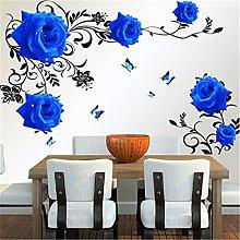 Farfalle rosa blu con foglie nere Adesivo murale