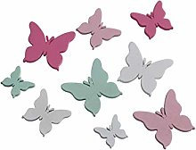 FD 48 farfalle in legno bianco verde rosa pastello