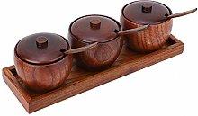 Fdit Set di barattoli per condimenti in legno duro