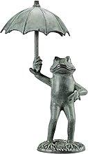 Fenteer Rana Aprire Un Ombrello Giardino Statua,