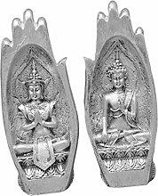Fenteer Scultura A Mano di Buddha in Resina,