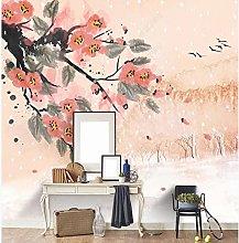 Fiore e Uccello Sfondo Parete Inchiostro Paesaggio