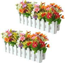 Fiori artificiali in vaso, 2 pezzi di fiori