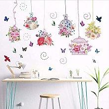Fiori Colorati Birdcage Farfalla Adesivo Murale
