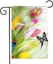 Fiori Colorati Farfalla Bandiere da Giardino Casa