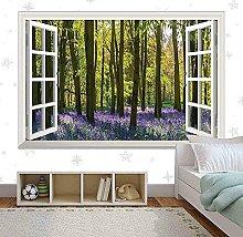 Fiori viola albero alberi finestra arte vinile