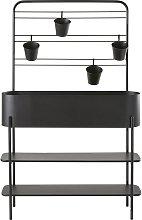 Fioriera in metallo nero con 4 vasi