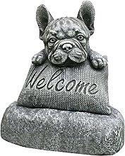FLAMEER Bulldog Francese Statua Segno di Benvenuto