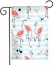 Flamingo e Strisce Blu Bandiere da Giardino