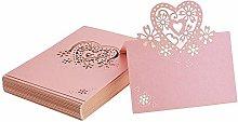 FLOWOW 50x Rosa Cuore Scheda in Bianco Taglio