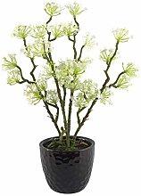 Foglia 30 cm artificiale bianco mini fiore pianta,