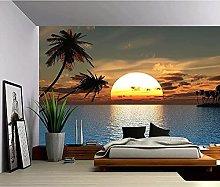 Foto 3D Wallpaper Sunset Ocean Palm Tree 3D Carta