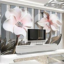 Foto Wallpaper Moderno 3D Fiori in rilievo Murale