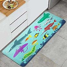FOURFOOL Tappeto da Cucina,Animali marini in 12
