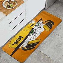 FOURFOOL Tappeto da Cucina,Illustrazione di gatto