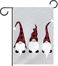 FunHOMEs - Bandiera da giardino con gnomi in iuta,