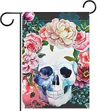 FunHOMEs - Bandiera da giardino con teschi e rose,
