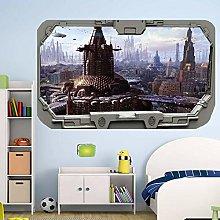 Futuristic City From Spacecraft Window ADESIVO DA