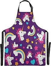 FVFV Blu Adorabile Unicorno Impermeabile Grembiule
