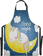FVFV Carino Unicorno Che Dorme Luna Impermeabile