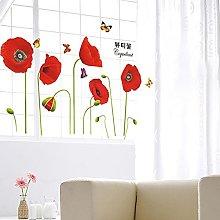 Ganquer Adesivi murali Farfalle Fiori di Papavero