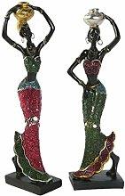 GARNECK 2 Pezzi Scultura Signora Africana Signora