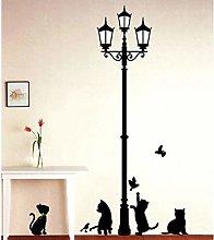 Gatti cattivi Uccelli e lampione Adesivi murali