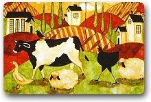 Generic - Zerbino con motivo mucca, misura 23,6 x