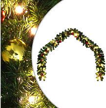 Ghirlanda di Natale Decorata con Palline e Luci a