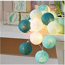 Ghirlanda luminosa in cotone (blu Tiffany) - Temco