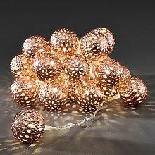 Ghirlanda luminosa LED con 24 sfere color rame