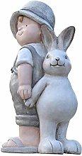 Giardino Bunny Boy Statua Elf Creativo Cortile