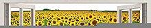 Girasole 3d vetrofania adesivo da parete arte