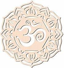 GLOBLELAND 31CM Om Lotus in Legno Wall Art Crystal