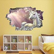 Gnailur Adesivo Murale 3D White Horse 3D Adesivo