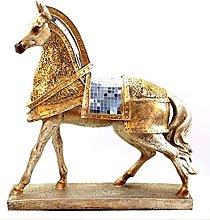 Golden Armored Warhorse Scultura Modello Animale