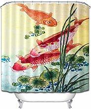 Goldfish loto foglia pittura inchiostro tenda