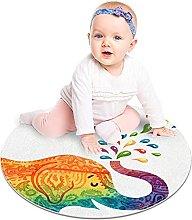 Gordesc, tappeto rotondo con elefante, colorato,